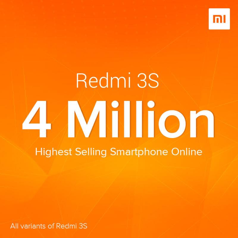 Xiaomi sells 4 mn Redmi 3S handsets in just 9 months