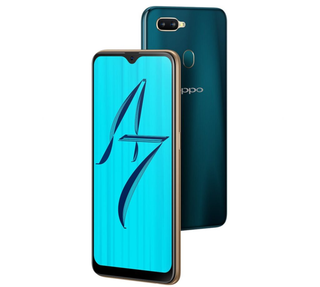 Oppo A7 with 6.2 inch Waterdrop Display, Dual Rear Cameras